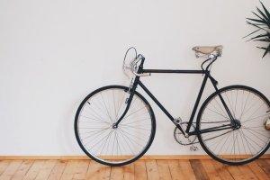 A bike inside a room.