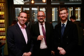 19/10/2017 - Walsh Whiskey Launch at L. Mulligan's Whiskey Shop at the Powerscourt Centre. Pictured were John Kelly & Yiorgos Manesis & Cian Christie. Photograph Nick Bradshaw