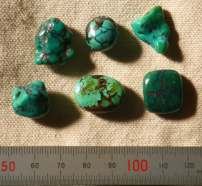 Six Antique Turquoise Beads