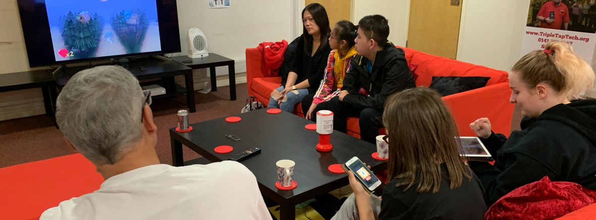 One of our groups training in our office. this was for accessible games.