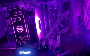 Glowing processor unit of a gaming PC coloured purple