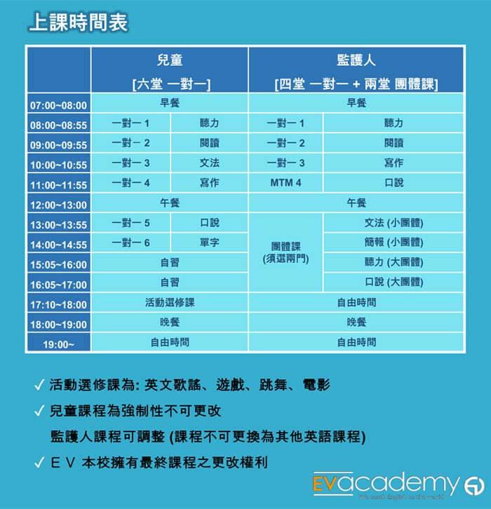 EV親子上課課表