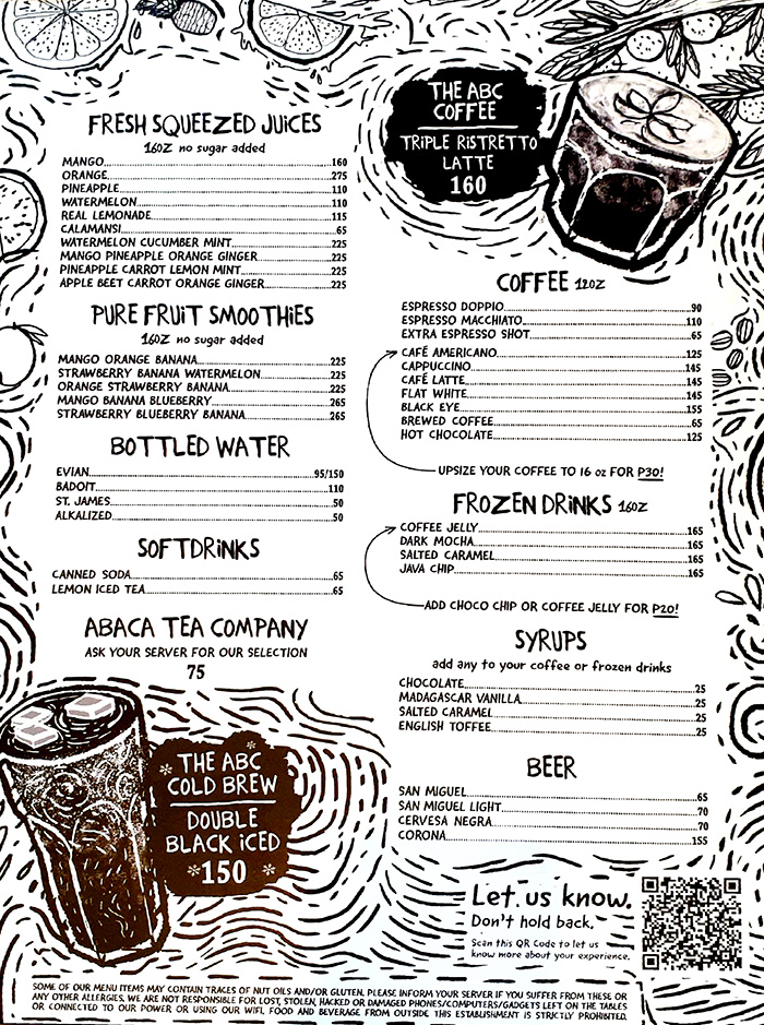 Abaca咖啡廳Menu-菜單, 價位