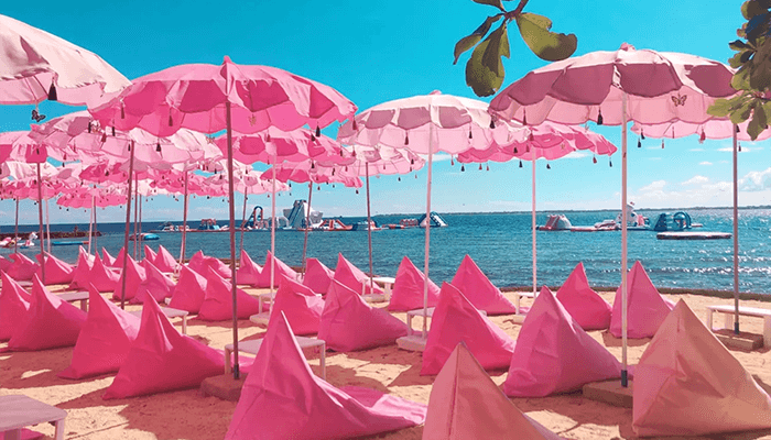 粉紅色主題沙灘,甜甜少女心朵朵開