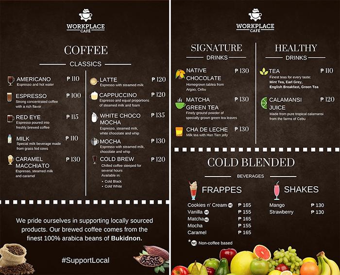 宿霧workplace , 咖啡, Menu, 菜單