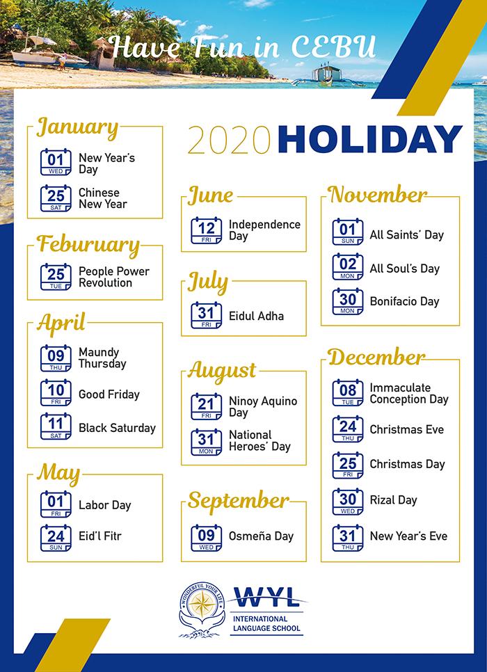2020年, 宿霧WYL語言學校假期表,哪幾天放假, 放假天數公告