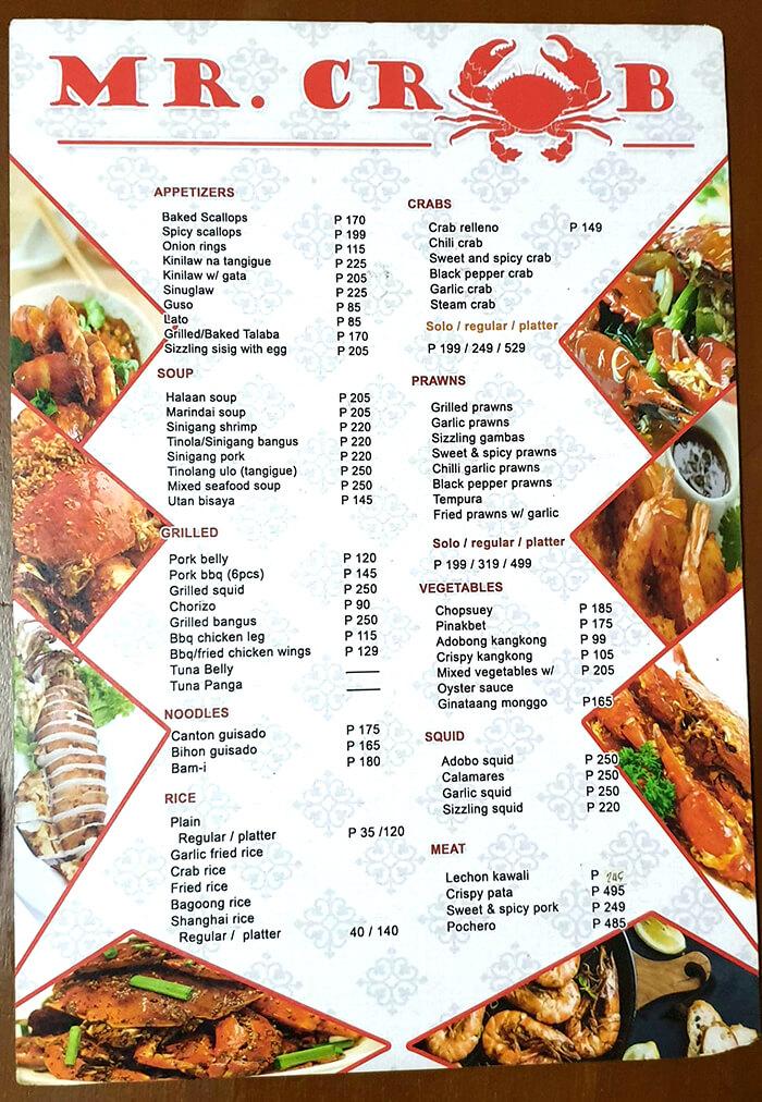 宿務螃蟹先生, 菜單, 價位, Menu, 價格, 便宜