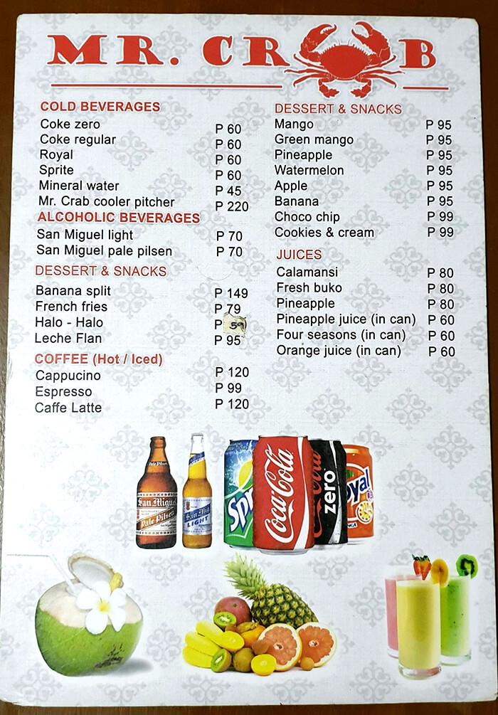 Mr. CRAB菜單, Menu, 價格