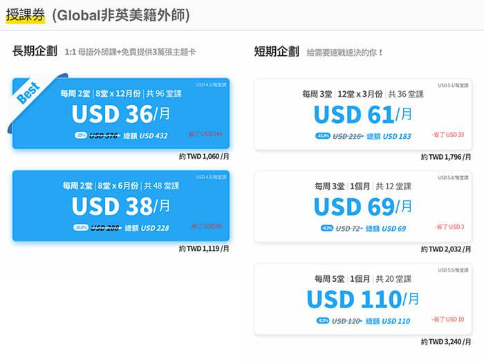 Tutoring線上英文費用, Global非英美籍外師