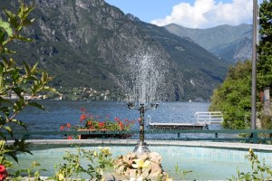 Fountain at a park, Lake Lugano