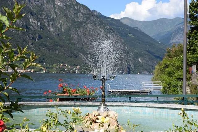 Fountain at a park, Lake Lugano