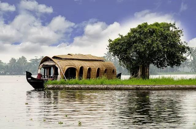 A beautiful view of Houseboat on Kerala Backwater
