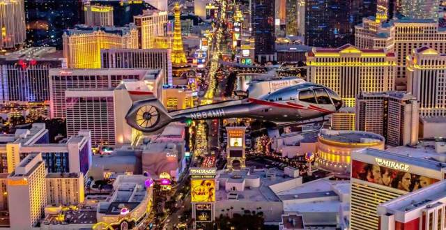 Las Vegas Strip in a helicopter