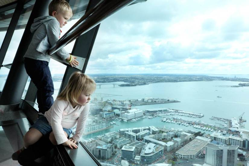 Auckland Sky Tower with kids