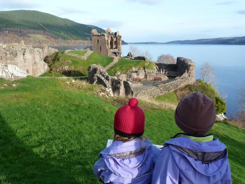 2 kids see urquhart castle
