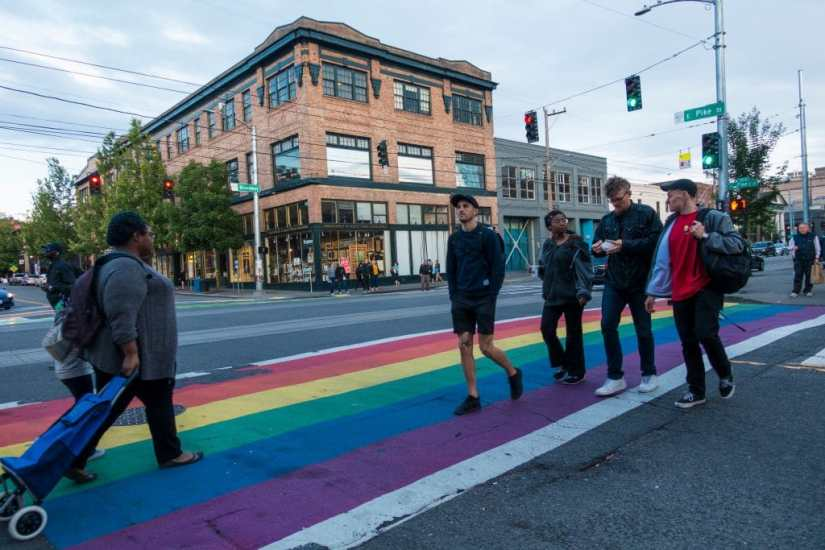 Rainbow walkway at Capitol Hill street in Seattle