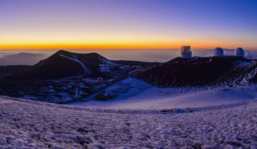 the sunrise on summit of Mauna Kea