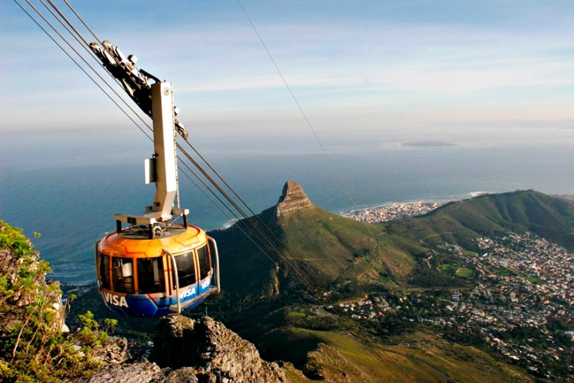 a cable car go up to the Table Mountain