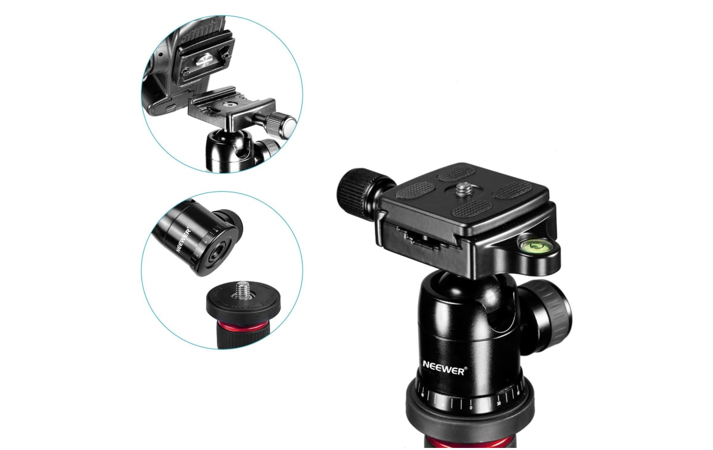 "Neewer Alluminum Alloy 62"" Camera Tripod ball head plate"