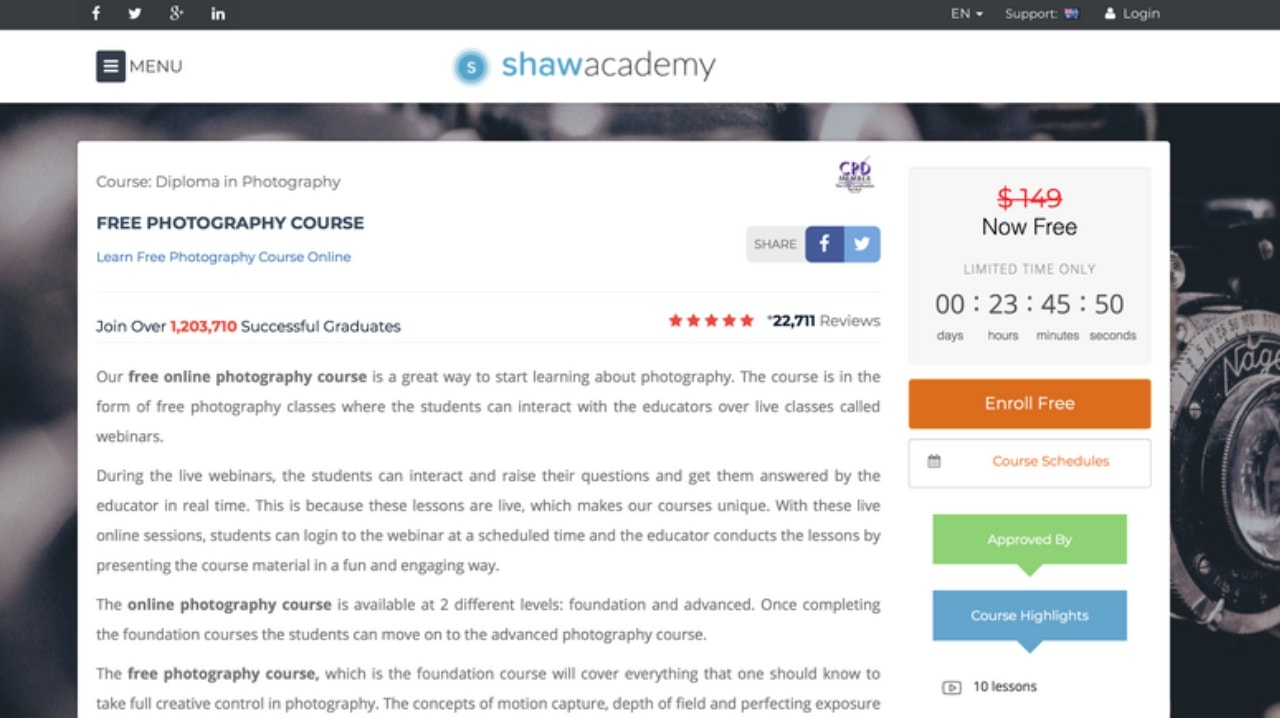 Shaw Academy Photography Course free