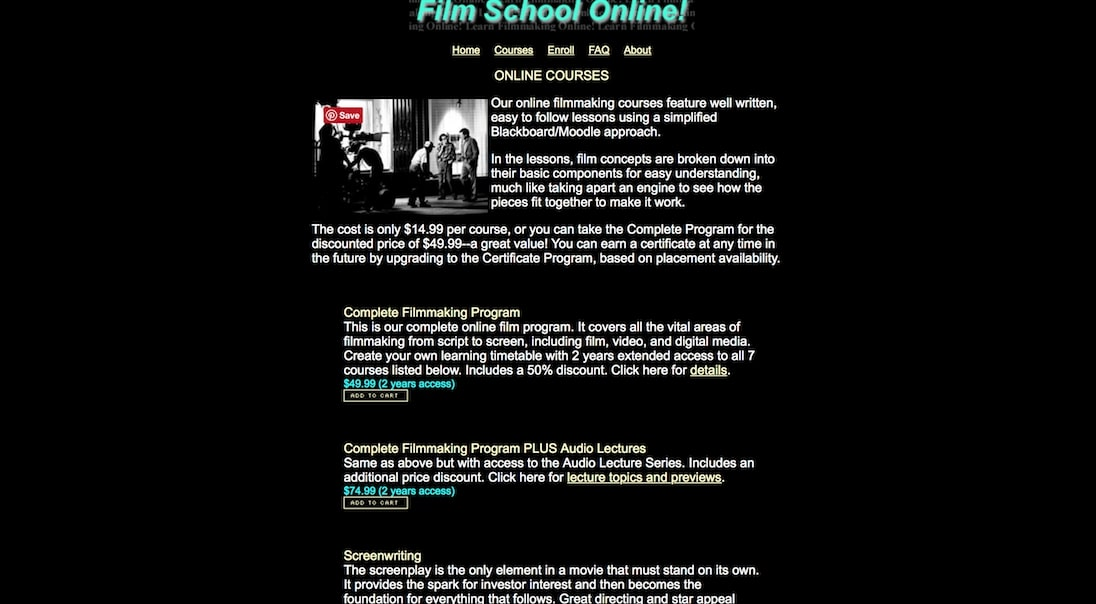 types of film editing courses