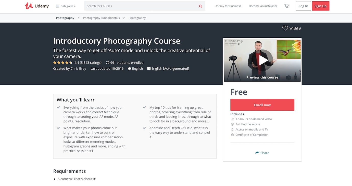 Udemy - Introductory Photography Course with completion certificate