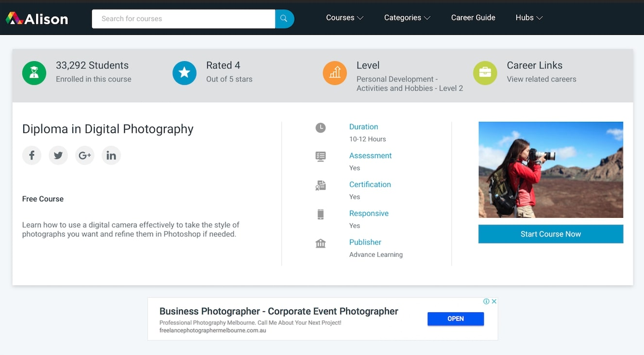 Alison – Diploma in Digital Photography review