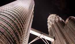 The Petrona's Towers in Kuala Lumpur, Malaysia at nighttime.