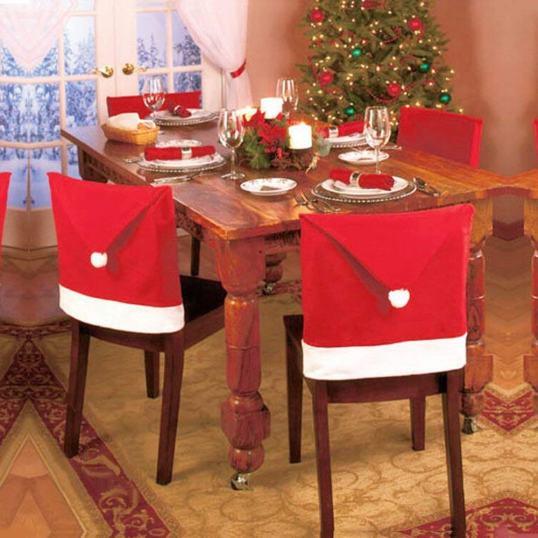 Santa chair covers Christmas decoration