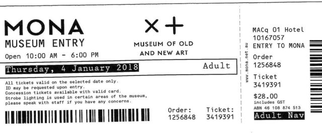MONA Travel Review - MONA Museum Entry Ticket