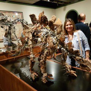 Intricate, recycled dinosaur art
