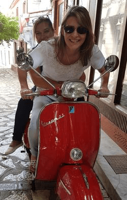 On a vespa, Satan's Bazaar, Preveza, Greece