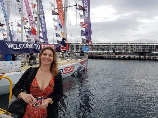 Hobart Things to See - Danae with the Sydney Hobart yachts docked in front of MACq 01 Hote, Hobart
