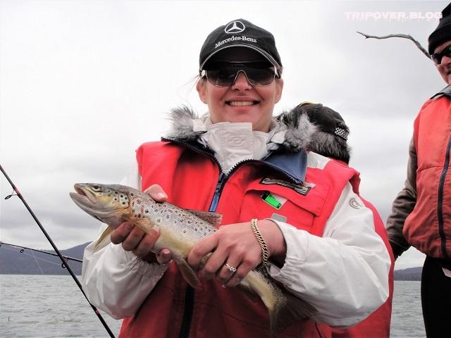 Danae catches a trout, Miena