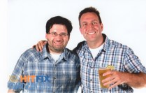 At Buzzfeed party with Jeff and a white background.