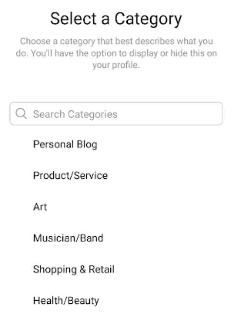 Instagram business categories