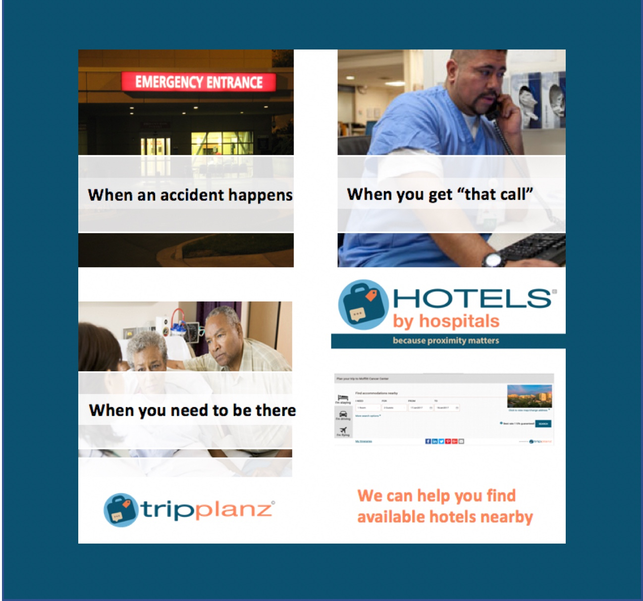 Finding hotels near care facilities