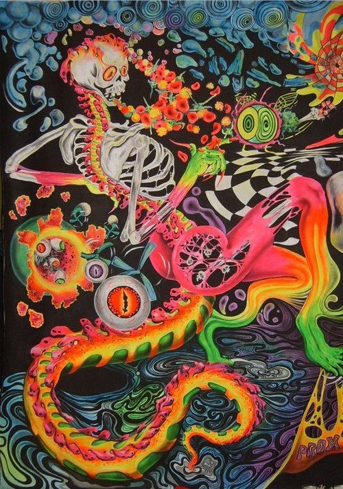 trippy and psychedelic skeleton
