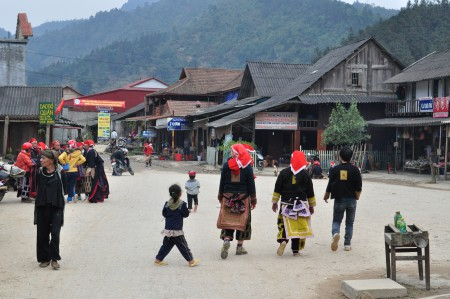 Passing through Red Dao village