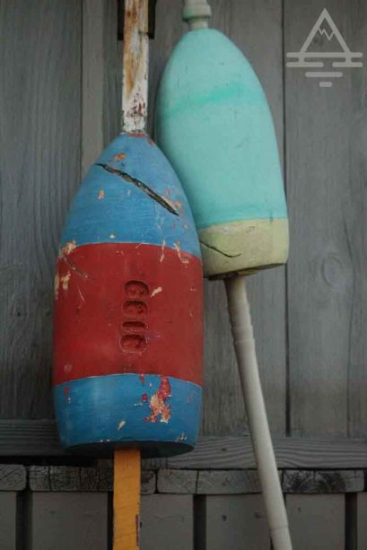 Two lobster buoys