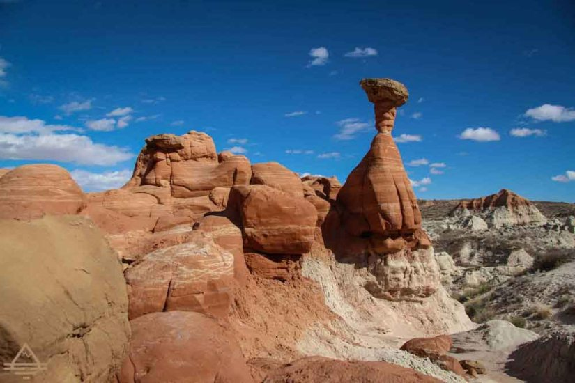 A tall toadstool rock formation on a Southern Utah Trail