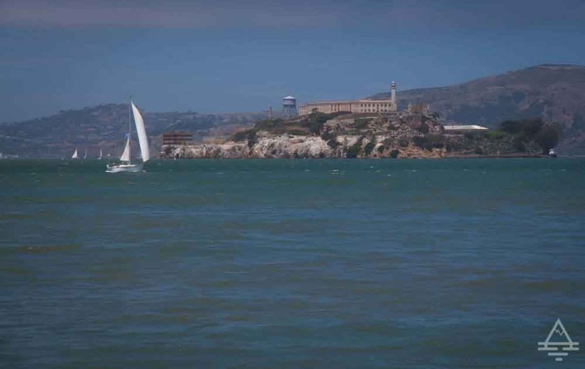 Alcatraz Island with Sailboat