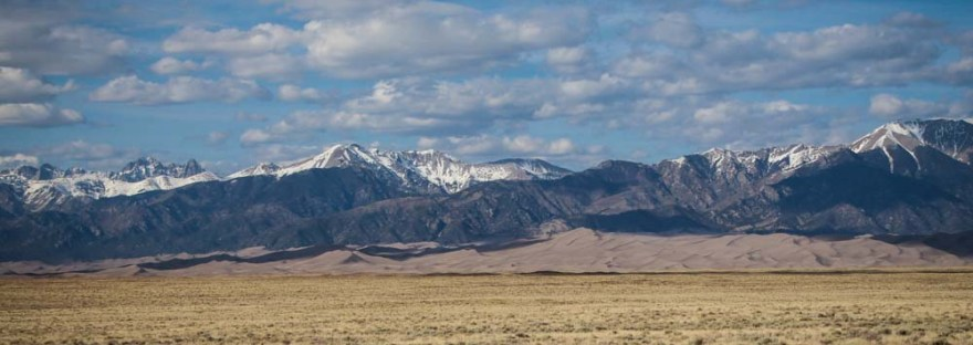 View of Great Sand Dunes National Park in Colorado from a distance.