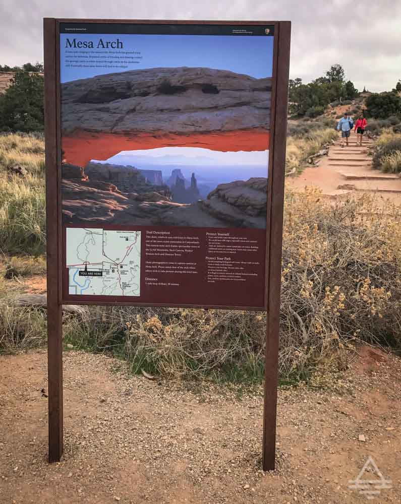 Mesa Arch Canyonlands National Park Trail Sign