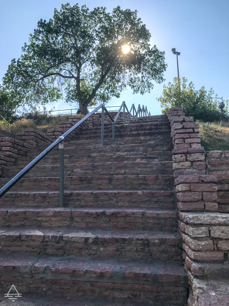 Stairs leading to the Rapid City Dinosaur Park in South Dakota