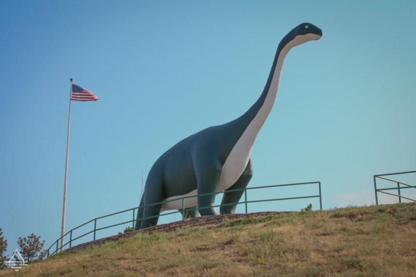 Dinosaur statue in the Rapid City Dinosaur Park in South Dakota