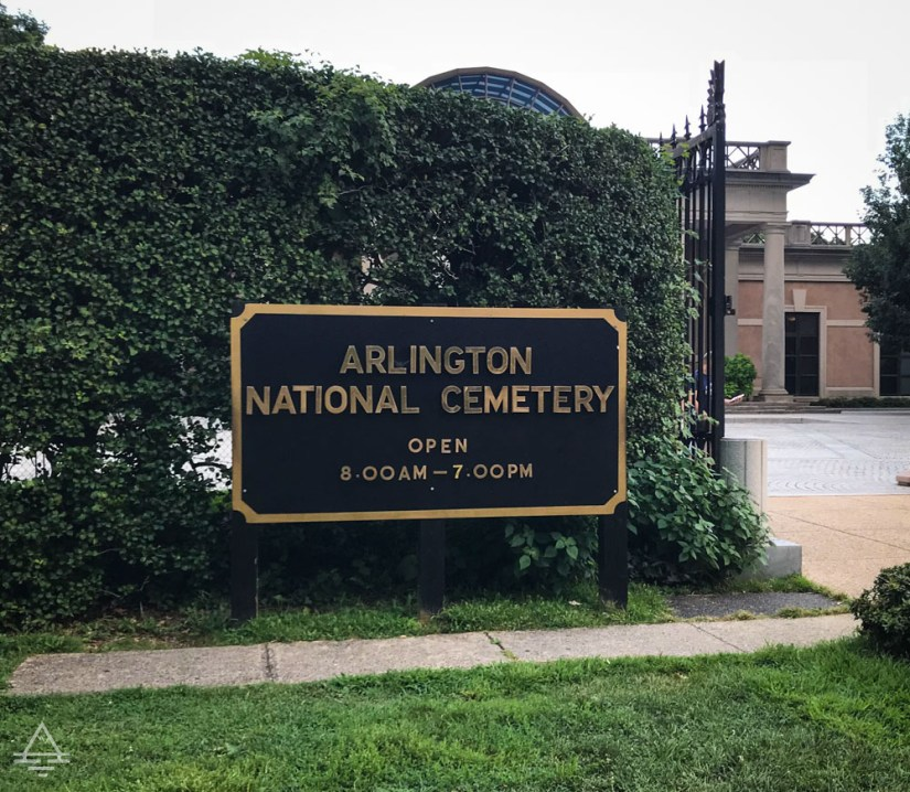 A Visit to Arlington Cemetery - Sign with hours