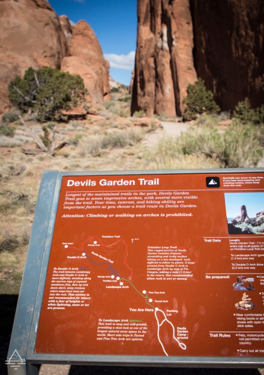 Devils Garden Trail Sign at the Trailhead in Arches National Park