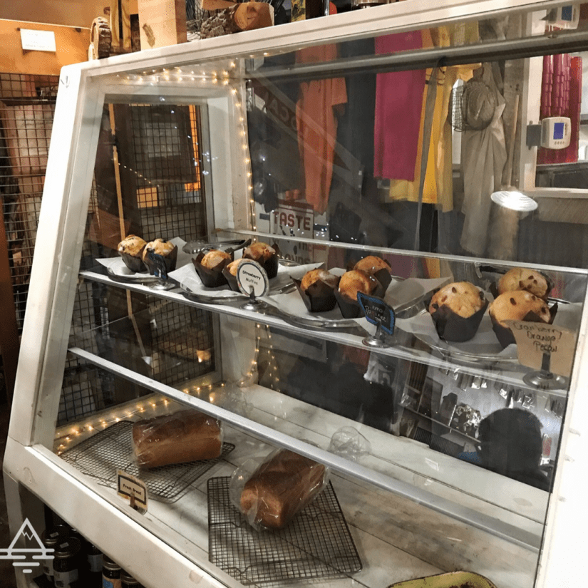 Display case with muffins and bread at the Blue Mountain Bakery and Cafe near the Buffalo River in Jasper, AR
