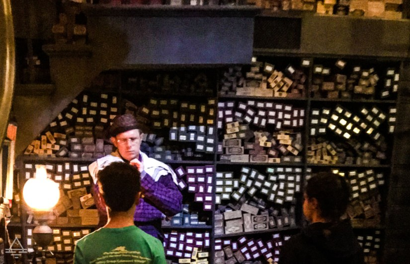 Wand selection ceremony at Olivanders in Harry Potter World Orlando.